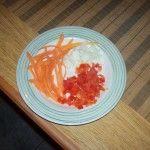 Morron, cebolla y zanahoria para el relleno