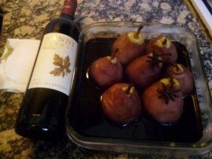 Peras con vino orgánico y anís estrellado 003