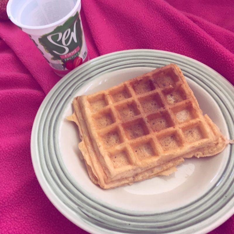 Waffles hechos con yougurt